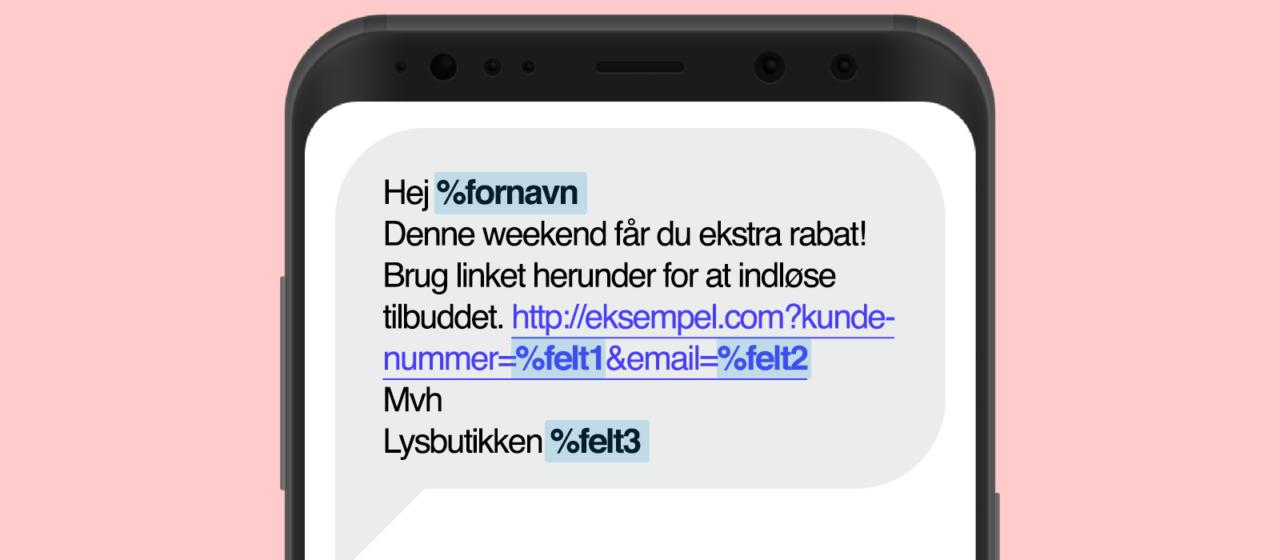 Du kan bruge ekstra data fra dine kontakter og flette dem ind i dine SMS udsendelser
